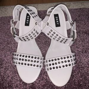 DKNY Studded White Leather Block Heel Sandals
